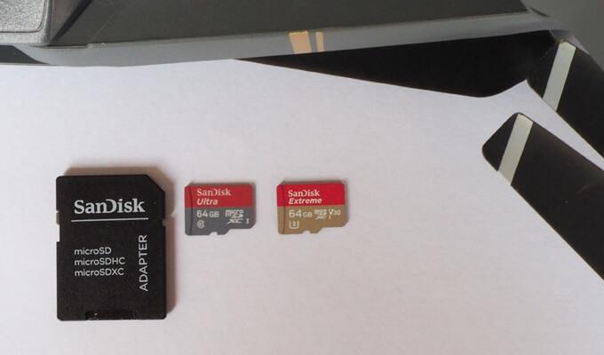 SD Karten für Kameradrohnen