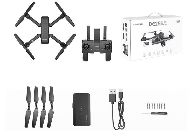 DEERC DE25 Drohne: Unboxing & Lieferumfang