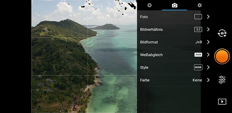 Kamera Settings für DJI Drohnen in App