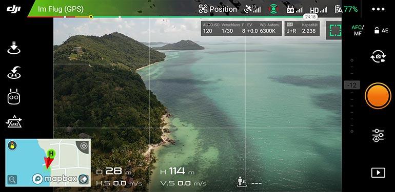 Kameraeinstellungen im Live-Bild der App