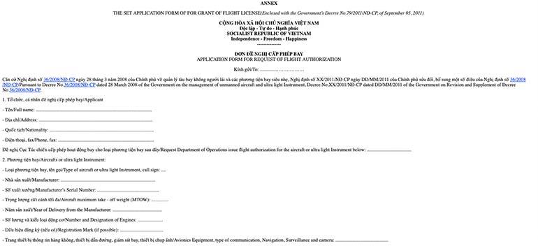 Anhang des Dekret 79/2011 / ND-CP zum Drohne fliegen in Vietnam